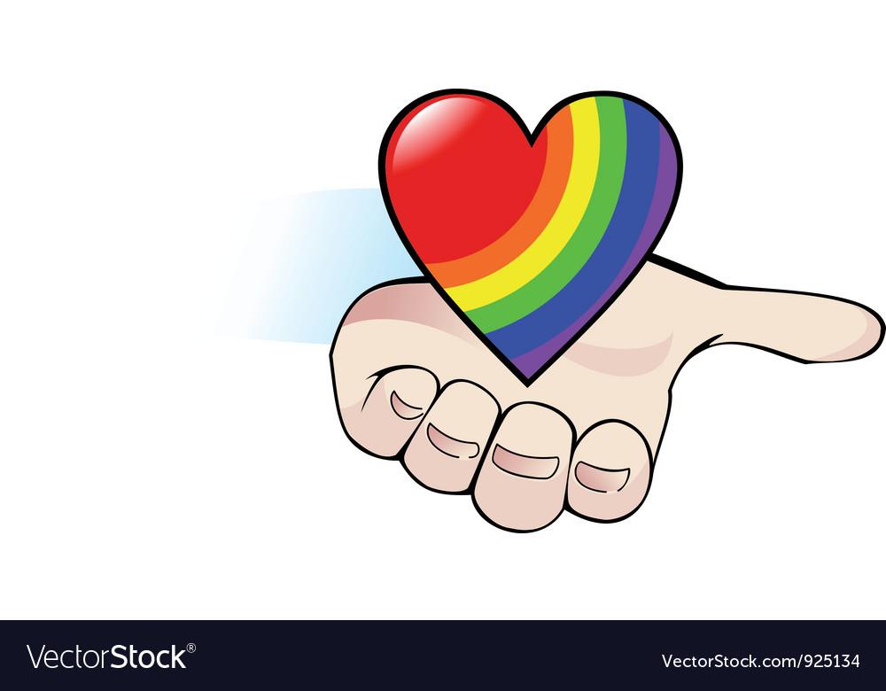 Rainbow heart in the palm vector