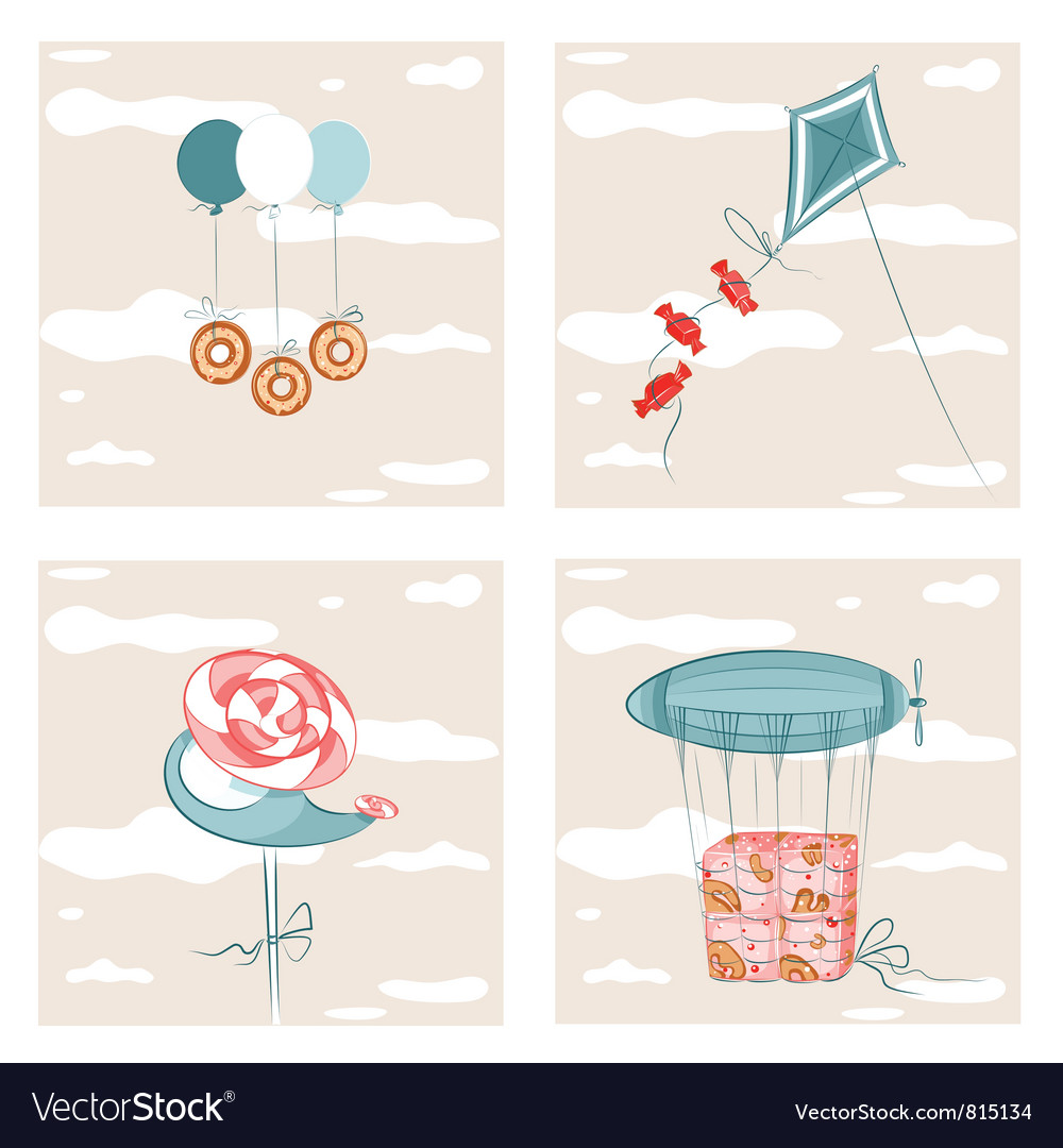 Sweets flight set vector