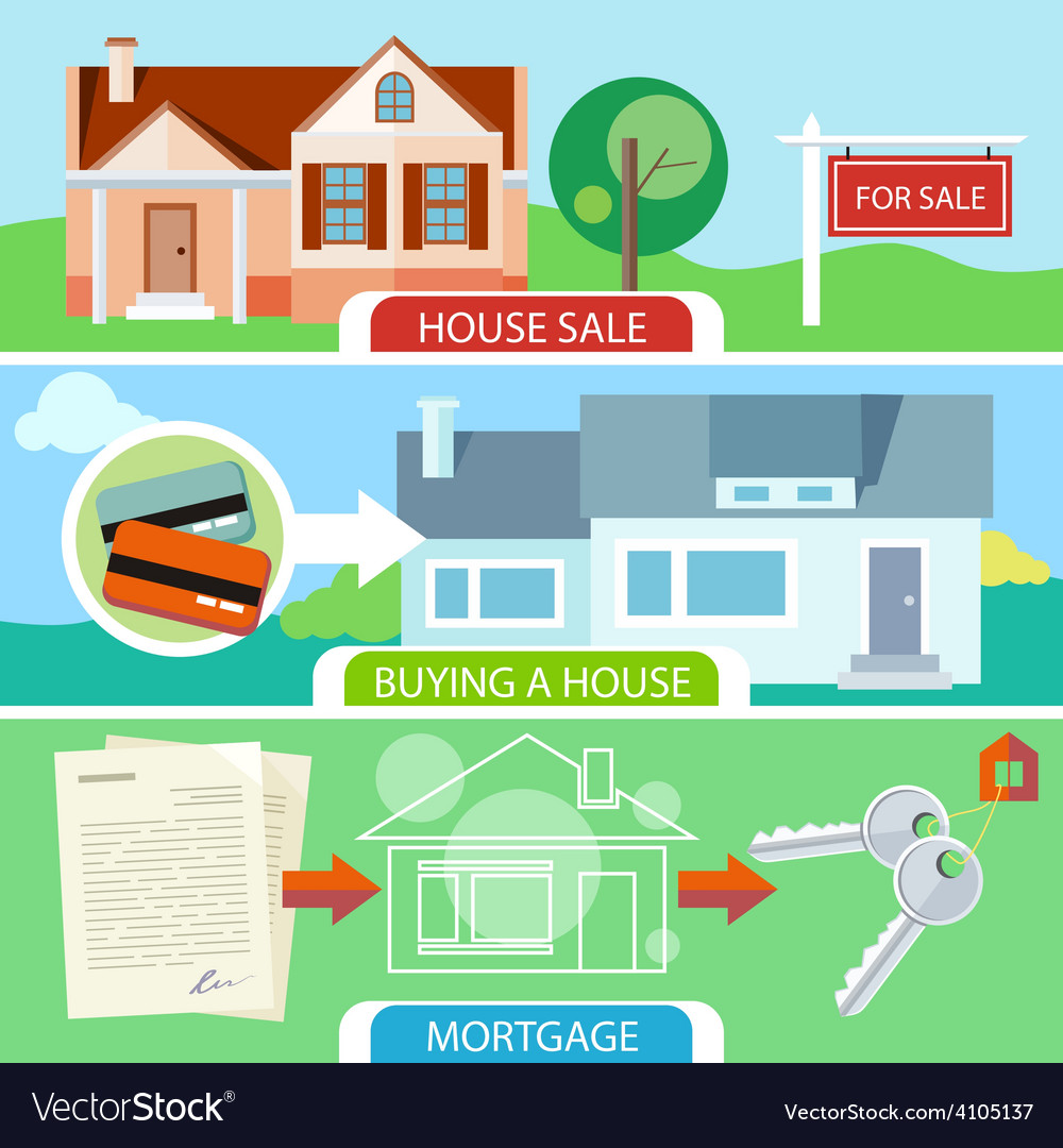 Sale buying house and mortgage vector