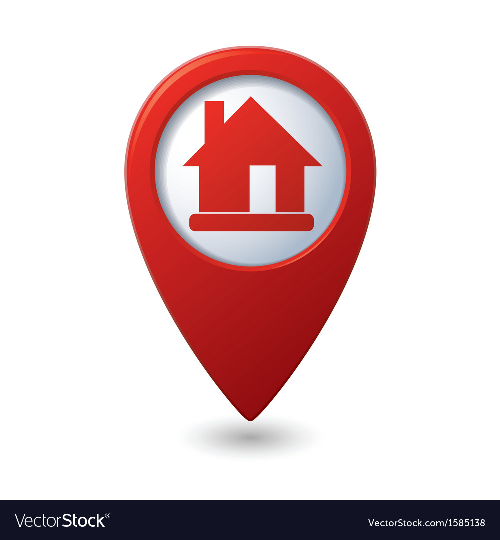 Home icon red map pointer vector