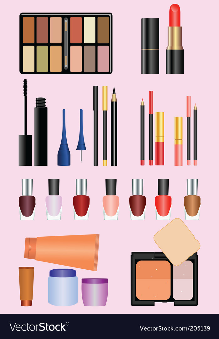 Professional make up set vector