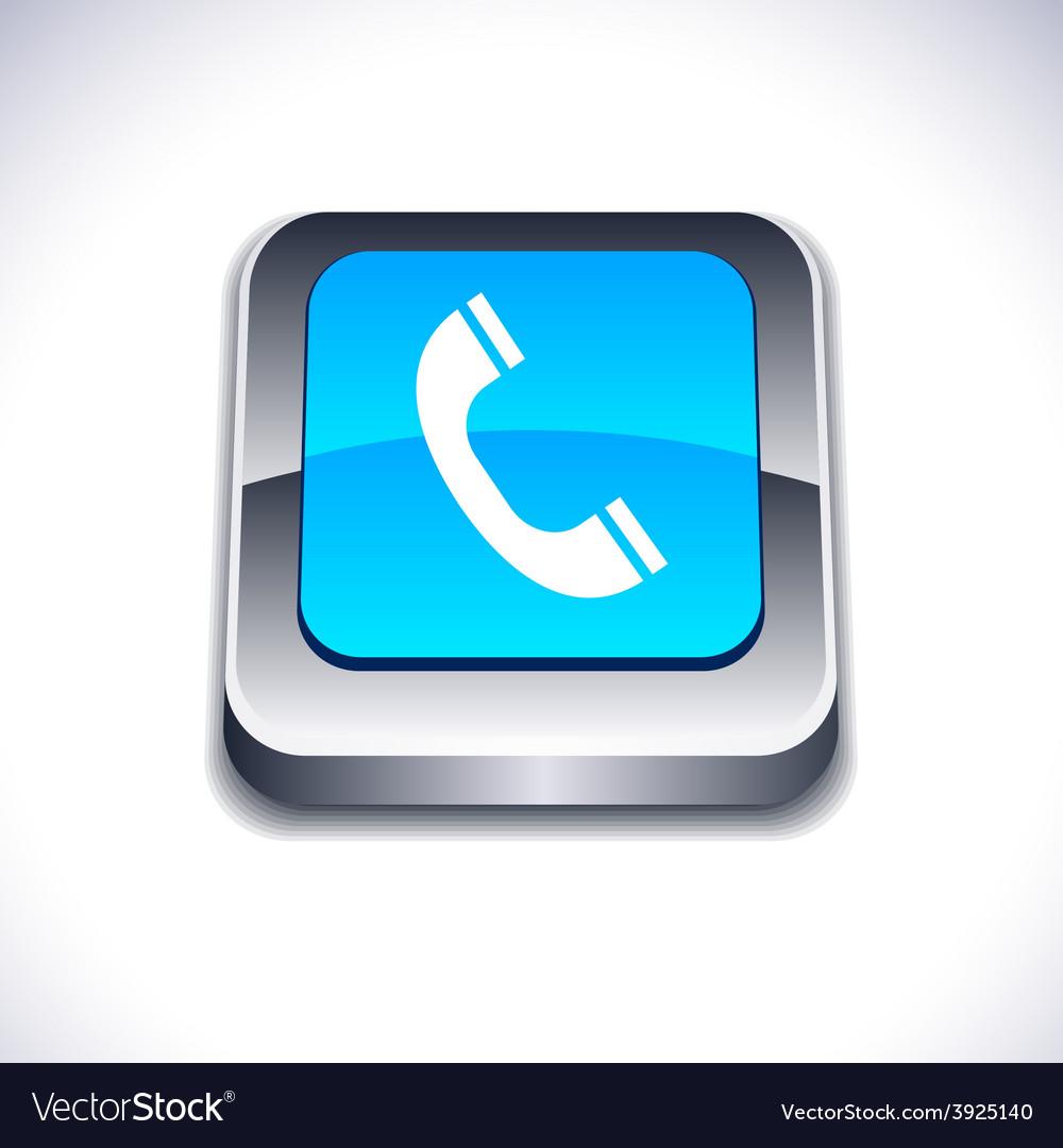 Telephone 3d button vector