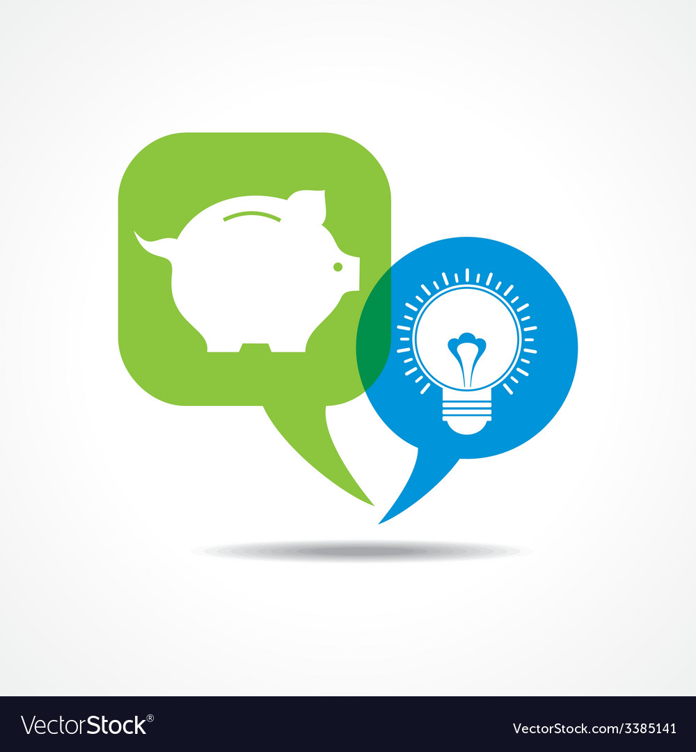 Piggy bank and light-bulb in message bubble vector