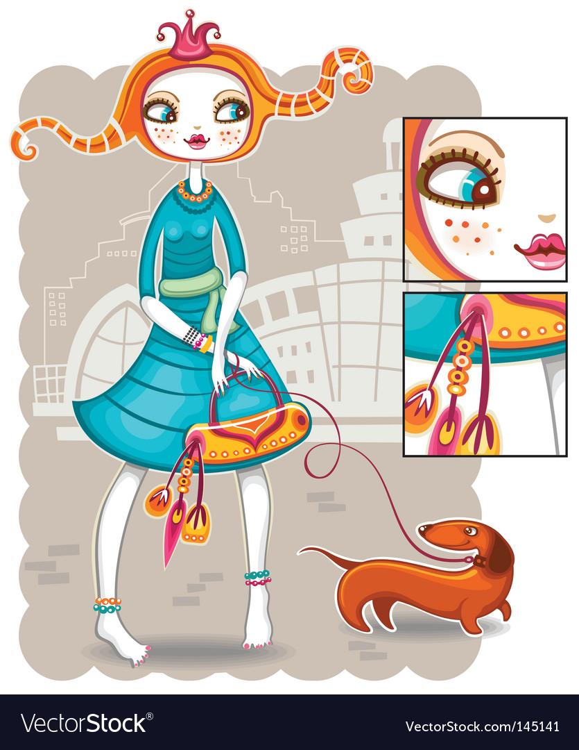 Spring shopping girl series vector