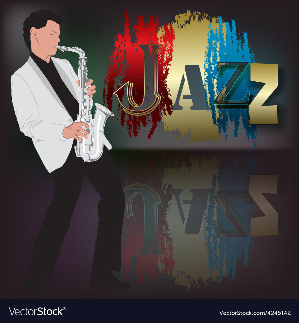 Abstract music with saxophone player on scene vector