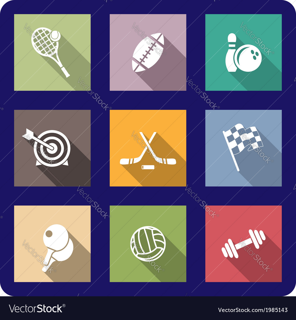 Colorful flat sporting icons vector