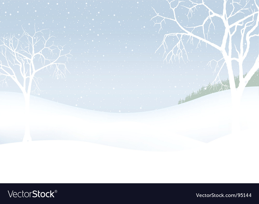 White christmas winter scenery vector