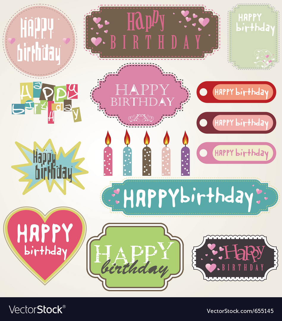 Happy birthday - labels vector