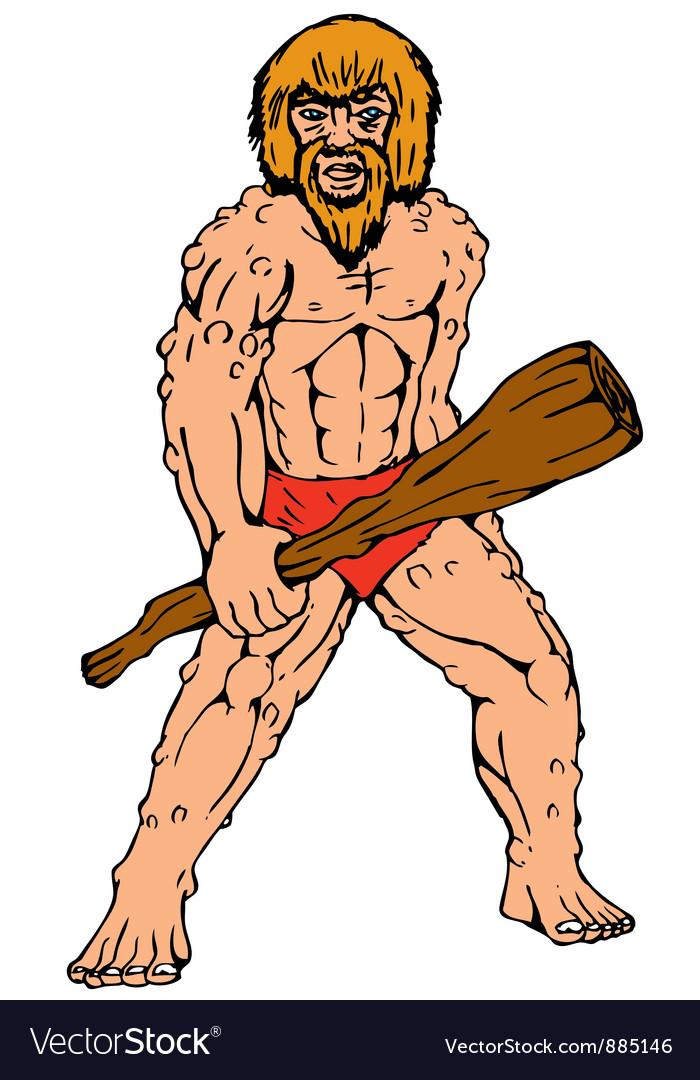 Cartoon caveman holding club vector