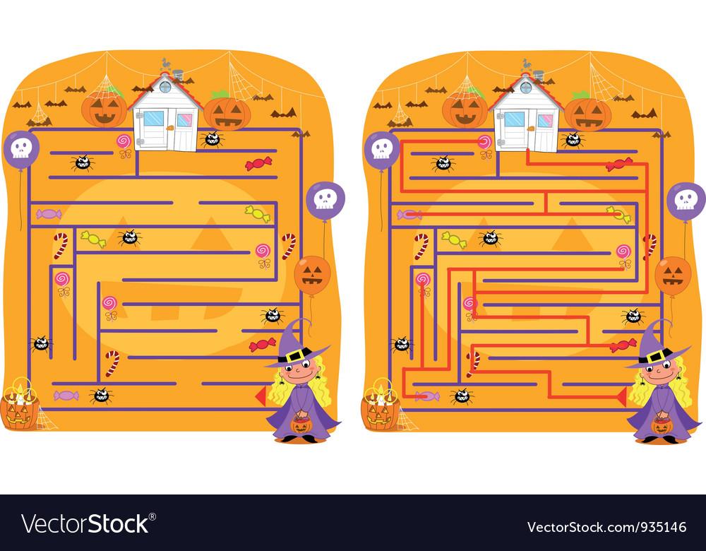 Solved halloween maze game vector