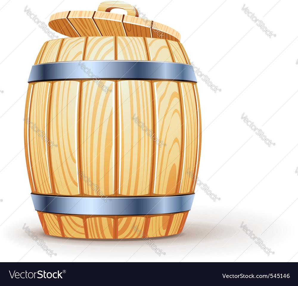 Wooden barrel with lid vector