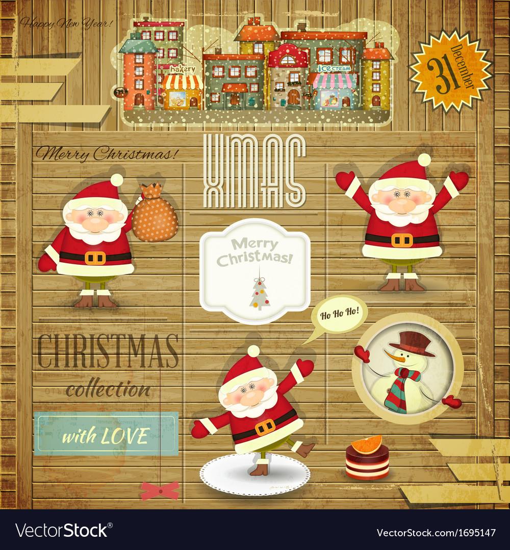 Retro merry christmas vector