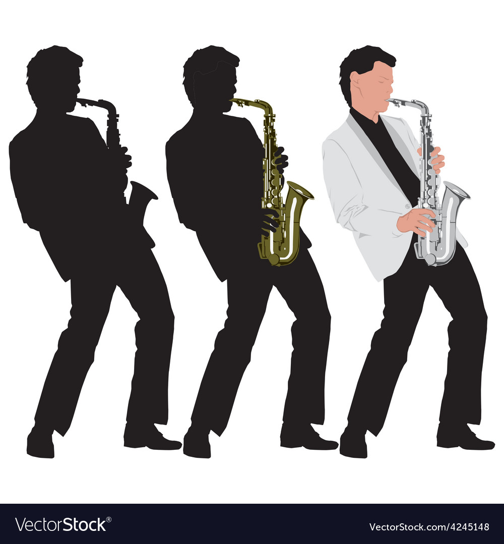 Abstract music with silhouette of saxophone player vector