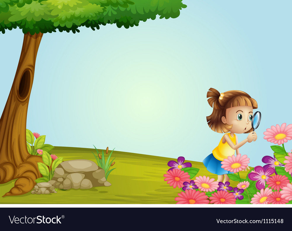 Girl in nature vector