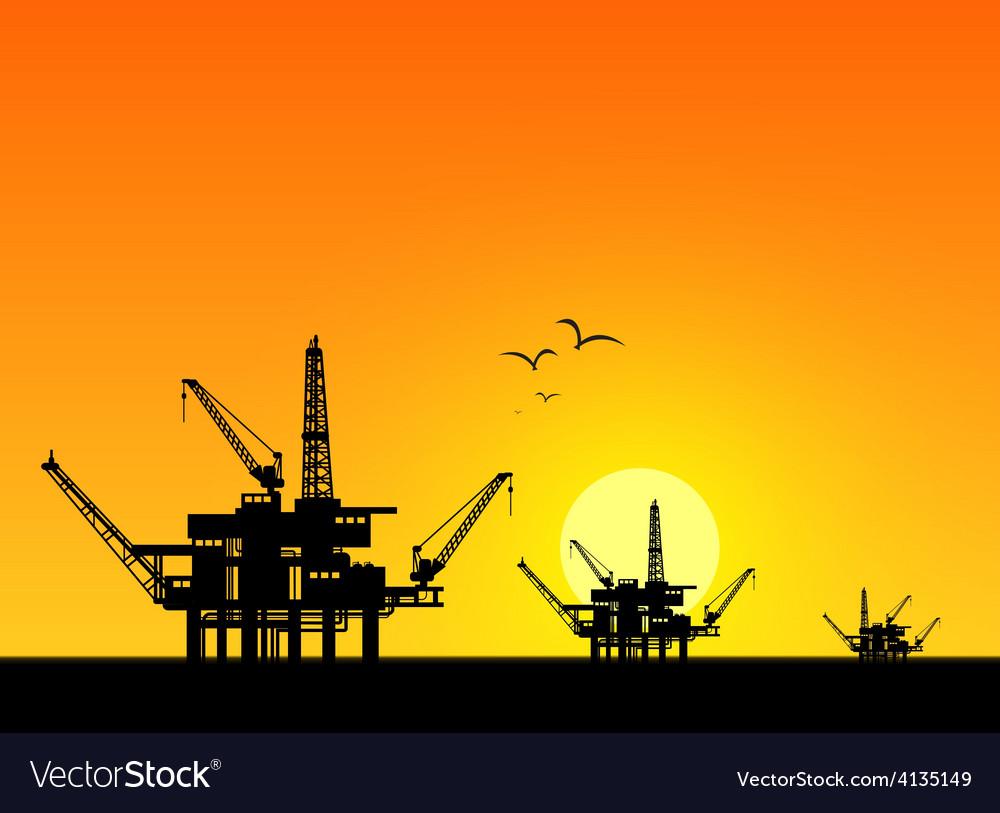 Oil derrick in sea vector