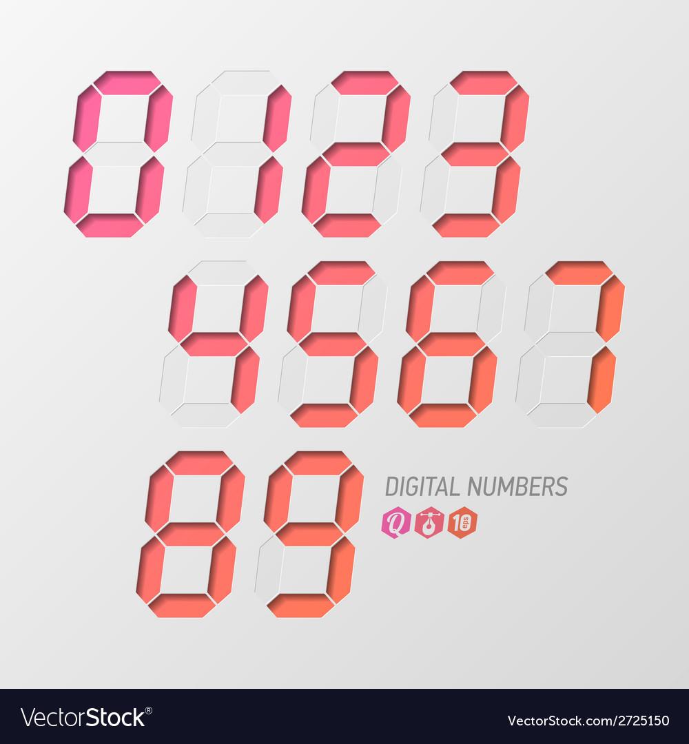 Digital numbers set vector