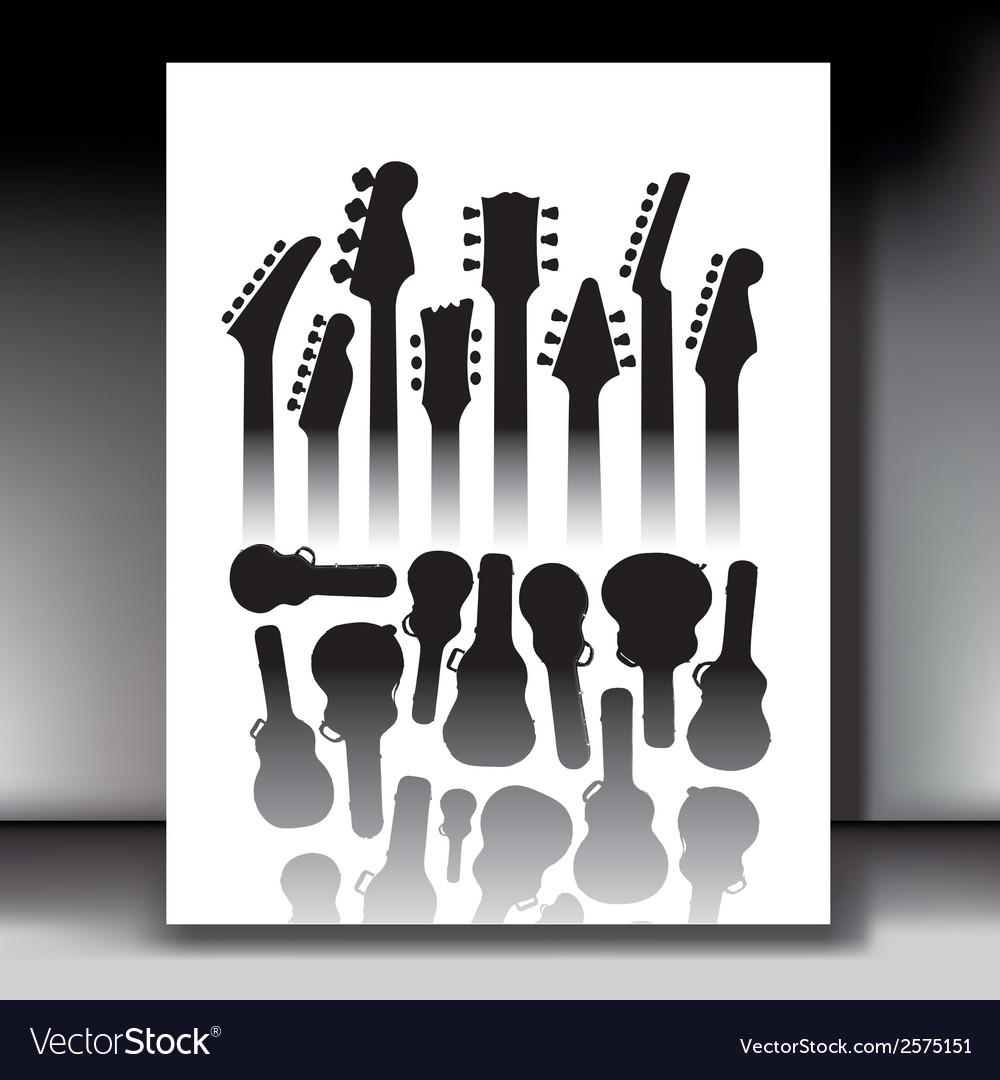 Lots of guitar cases vector