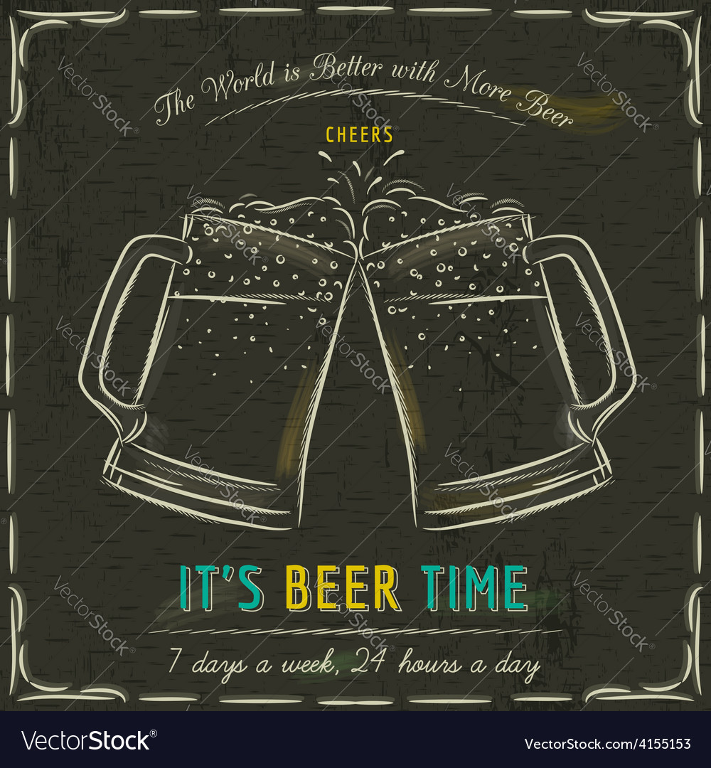 Blackboard with two cold mugs of beer vector