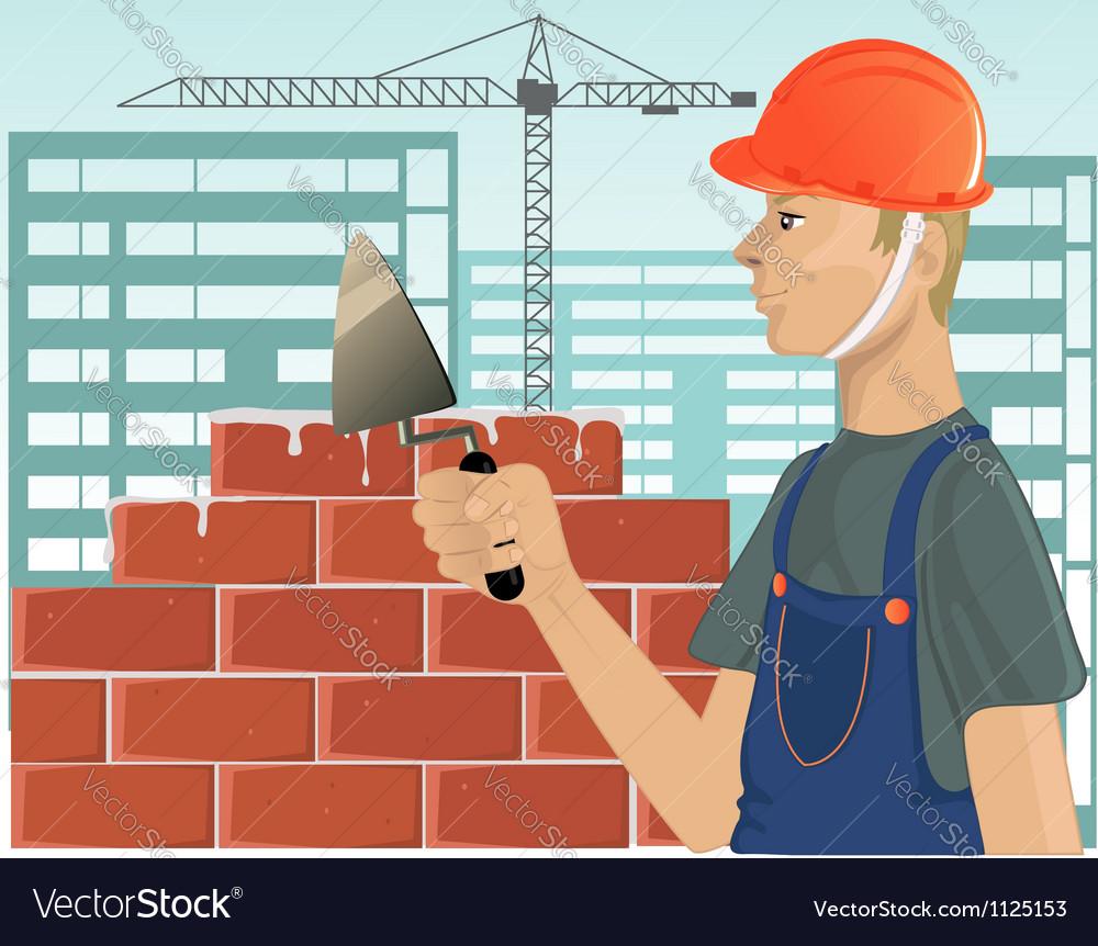 Builder with trowel vector