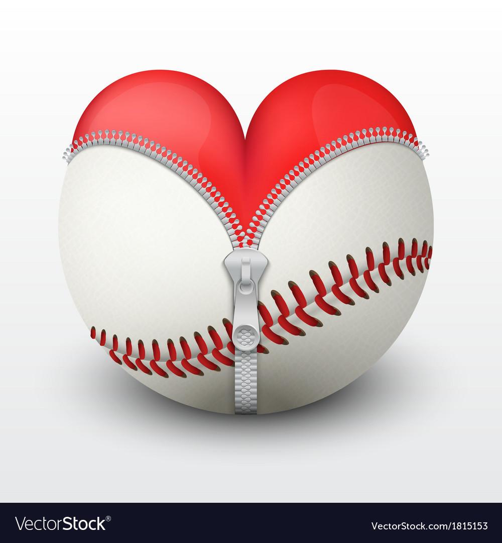 Red heart inside baseball ball vector