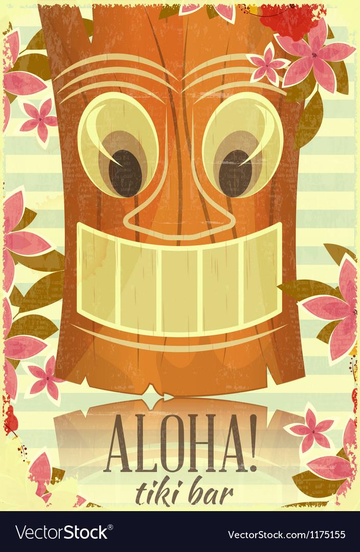 Vintage hawaiian tiki postcard vector