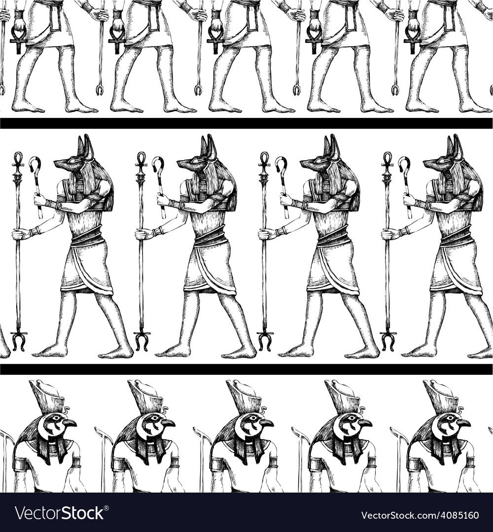 Egyptian hieroglyphics graphic seamless pattern vector