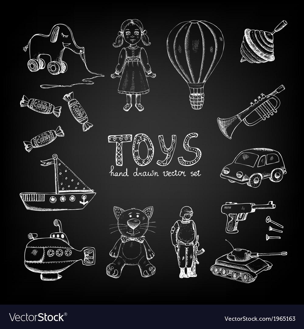 Chalkboard cartoon toys vector