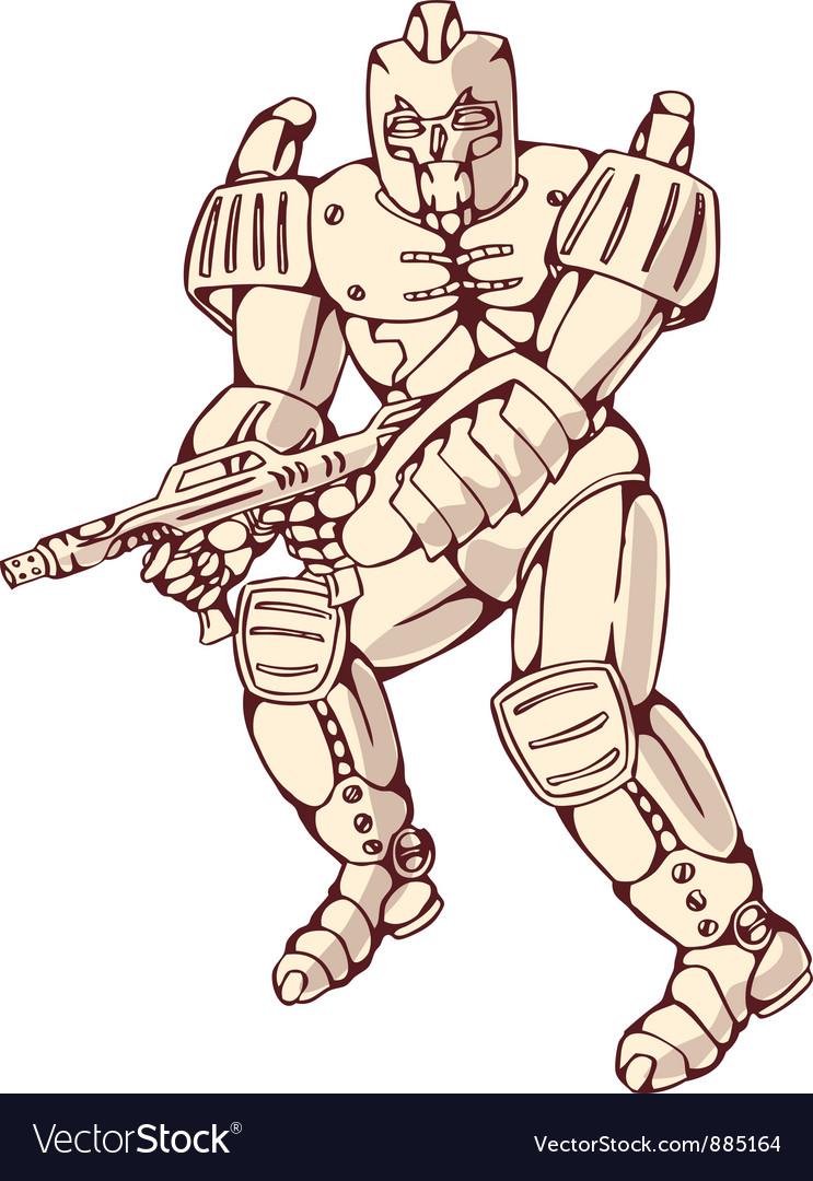 Mecha robot warrior with ray gun vector