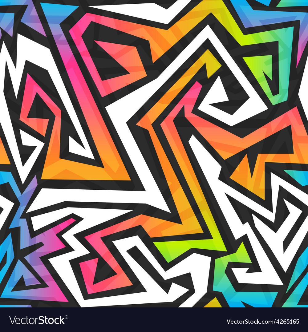 Spectrum color graffiti seamless pattern vector