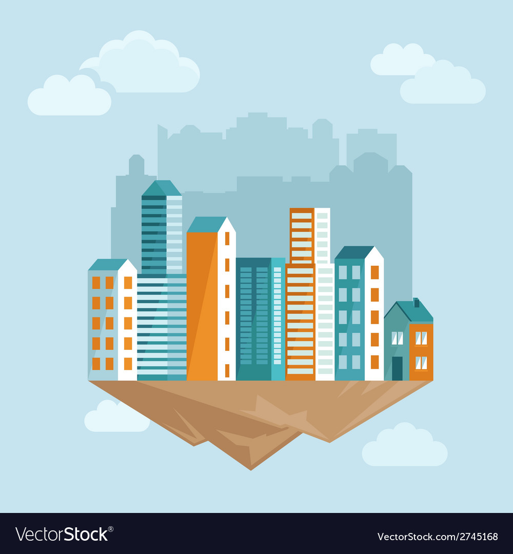 City concept in flat style vector