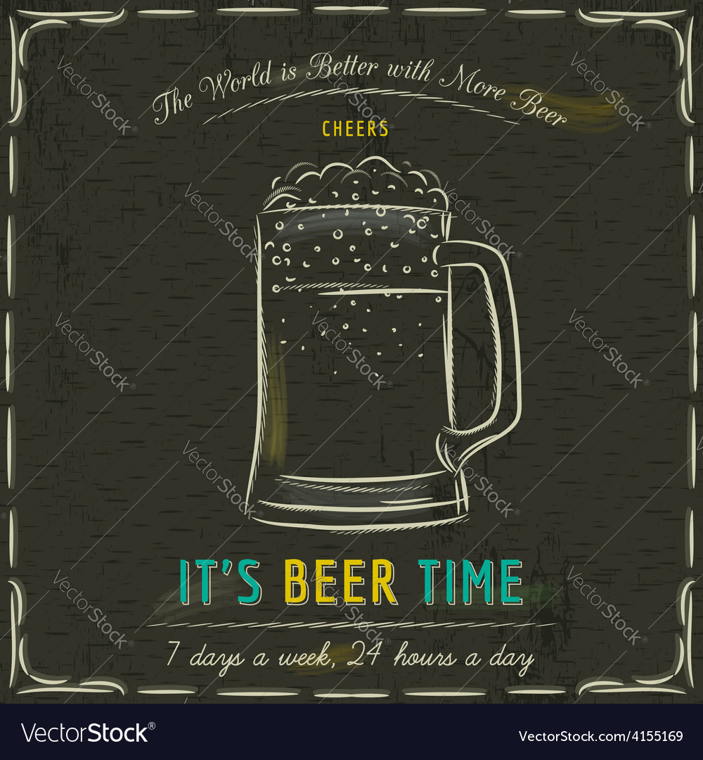 Brown blackboard with cold mugs of beer and text vector