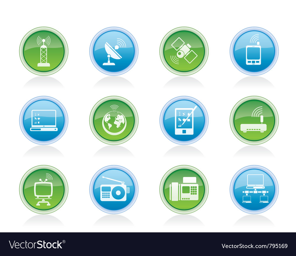 Communication and technology icons vector