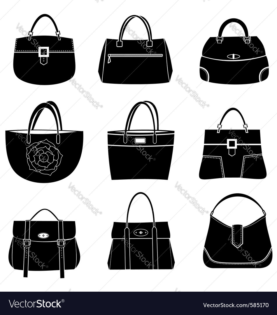 Fashion bags icons vector