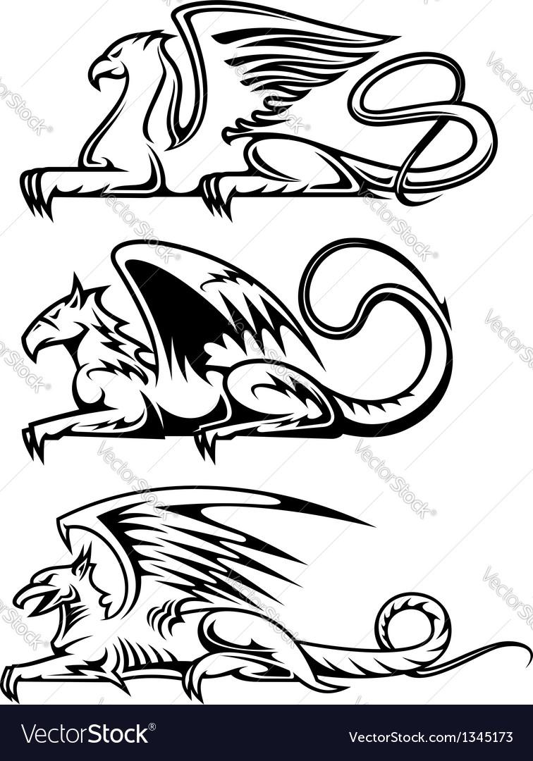 Medieval gryphons set vector