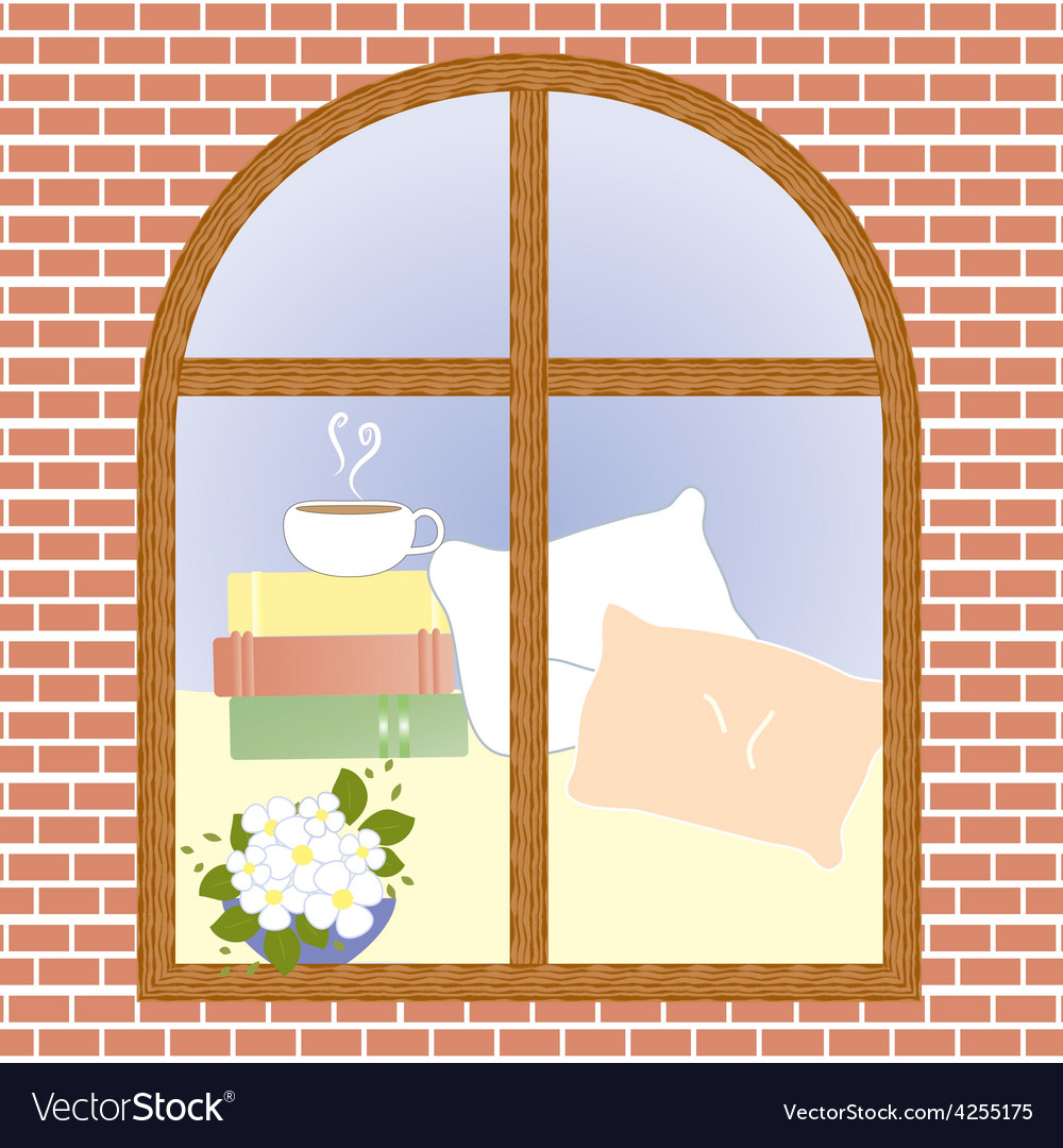 Cup of coffee cocoa tea cappuccino view window vector