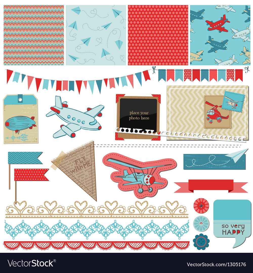 Baby boy plane elements vector