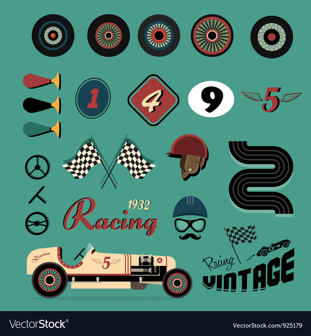 Icons of vintage car racing vector