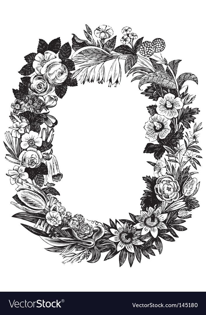 Antique flower frame vector