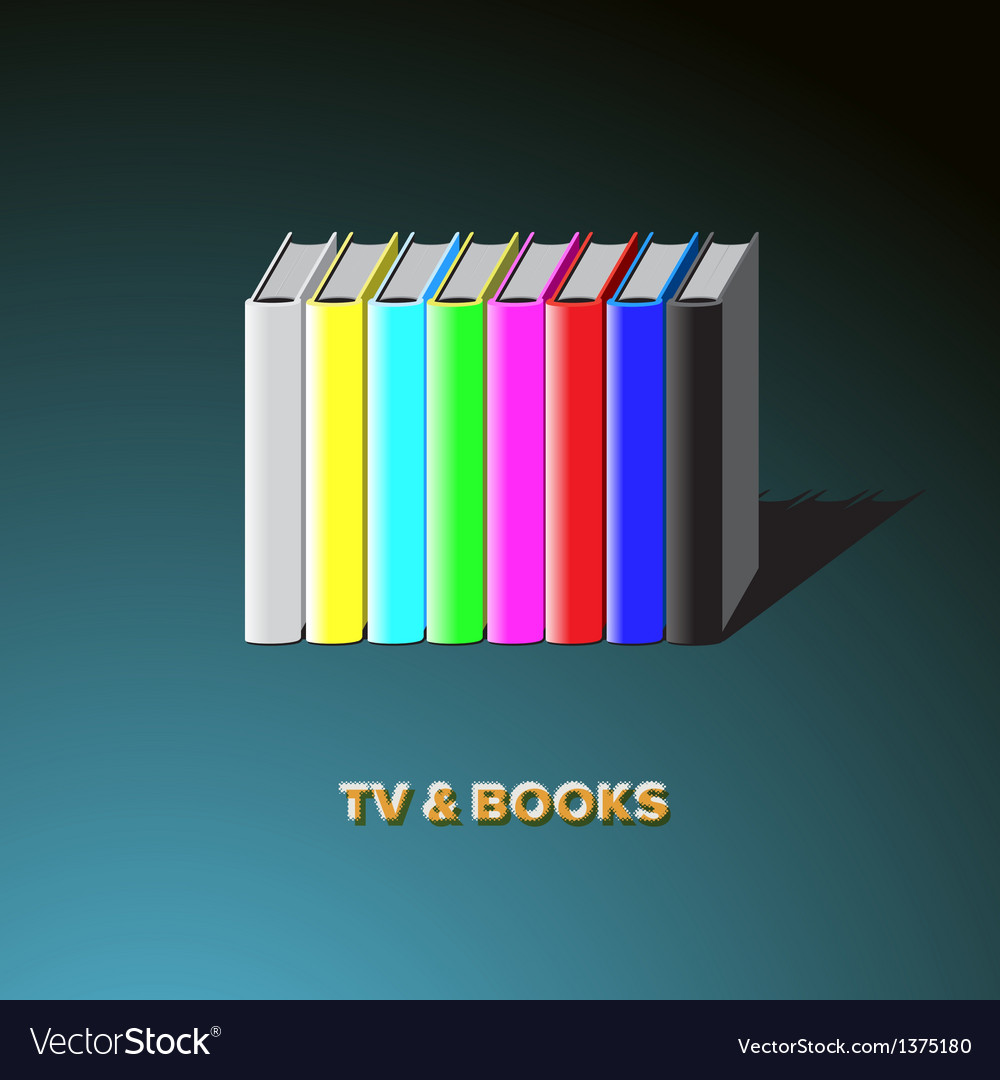 Row of books made tv-colorful no signal background vector