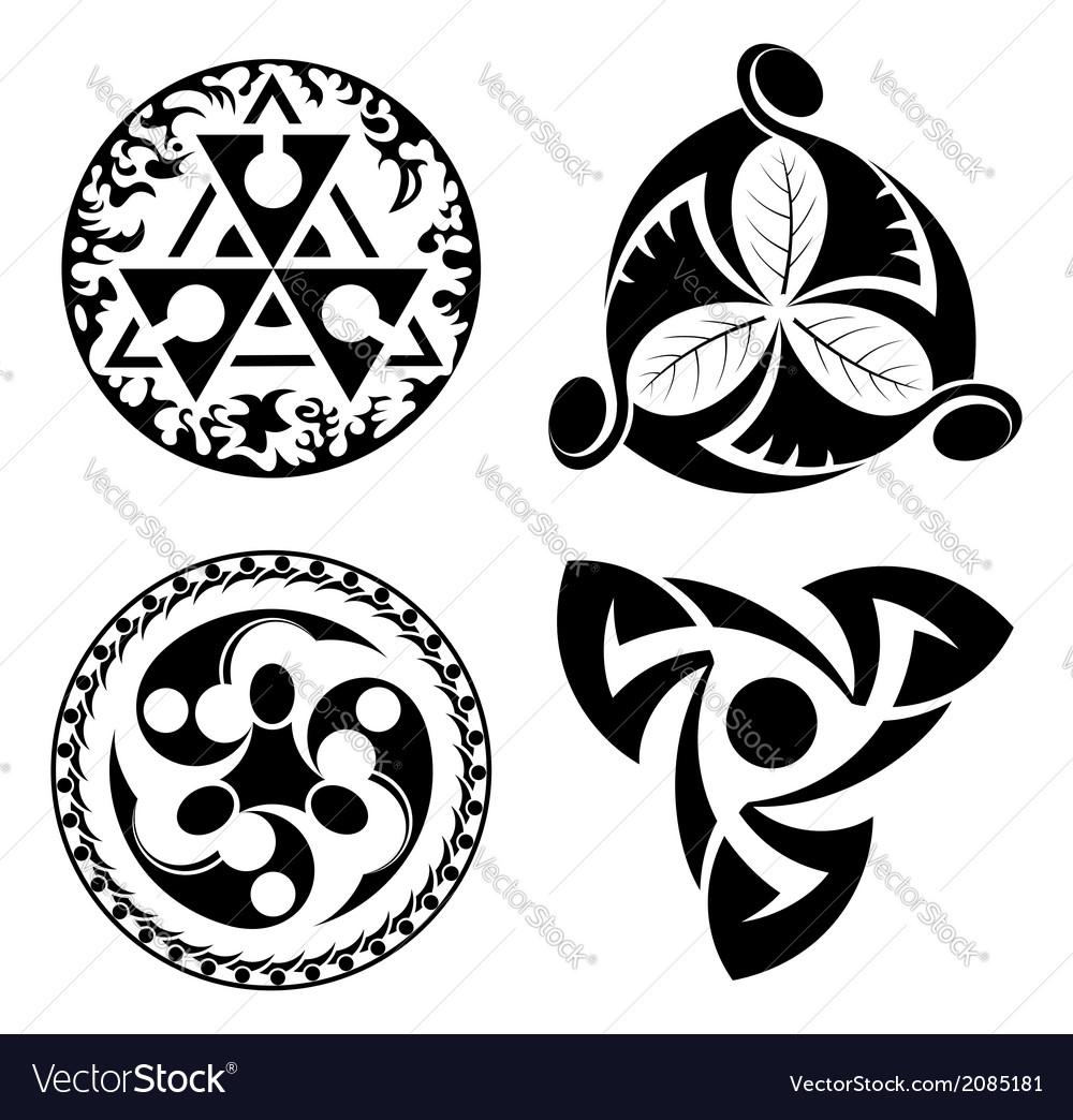 Set of black design elements - logotypes vector