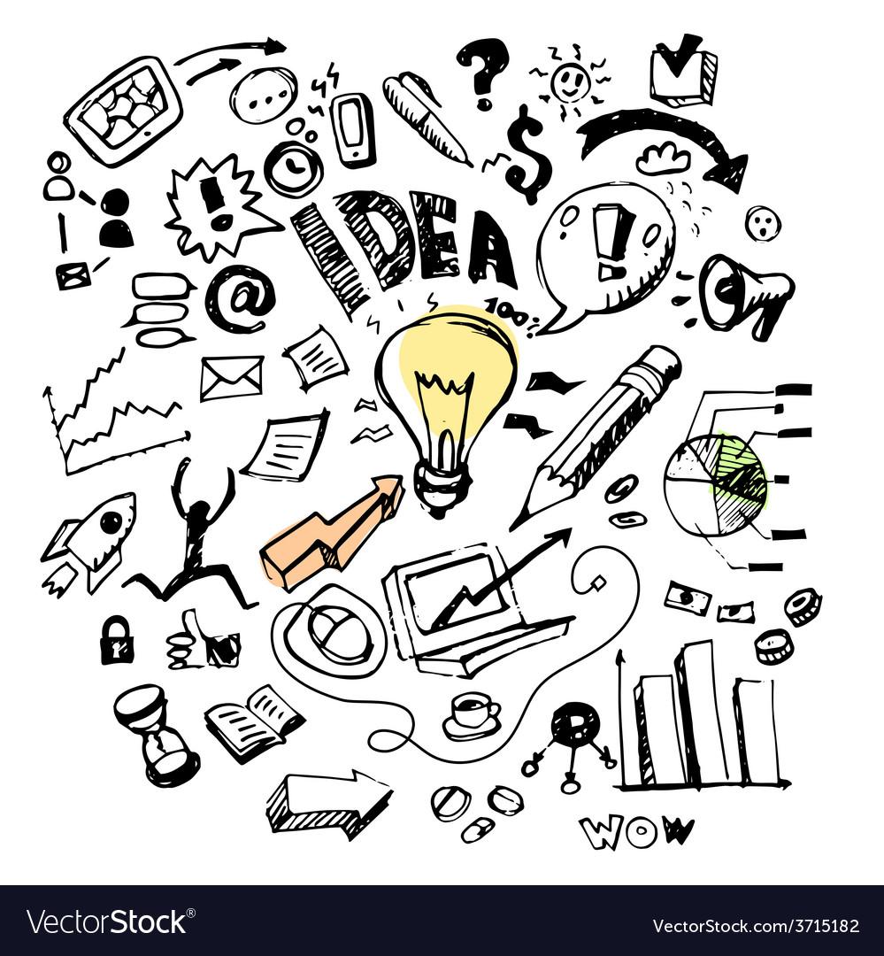 Business doodles idea vector
