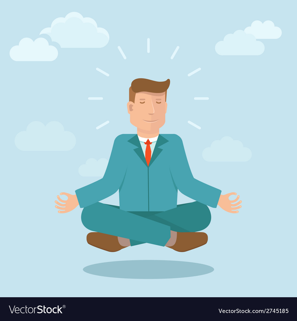 Businessman meditating in flat style vector