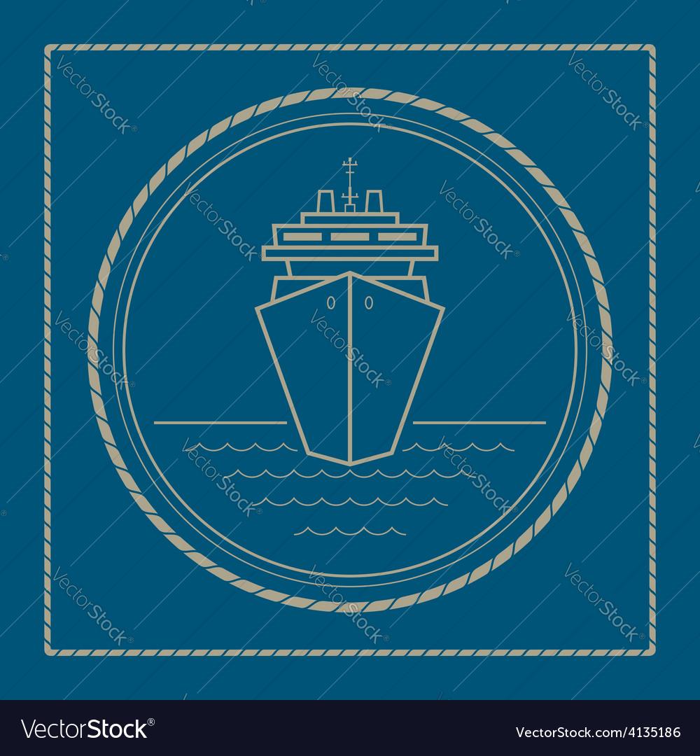 Marine emblem with cruise ship vector