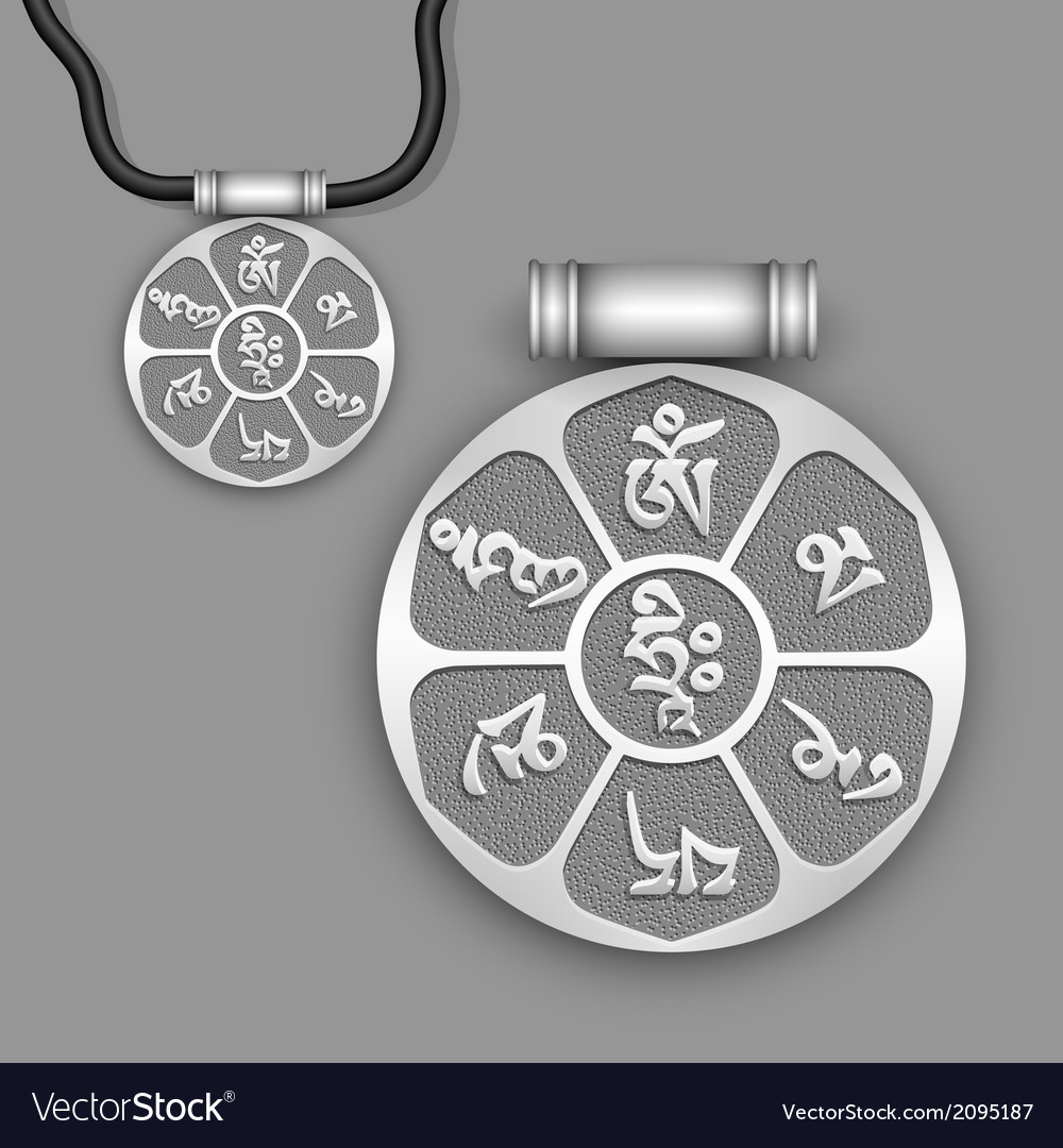 Mantra om mani padme hum on silver pendant vector