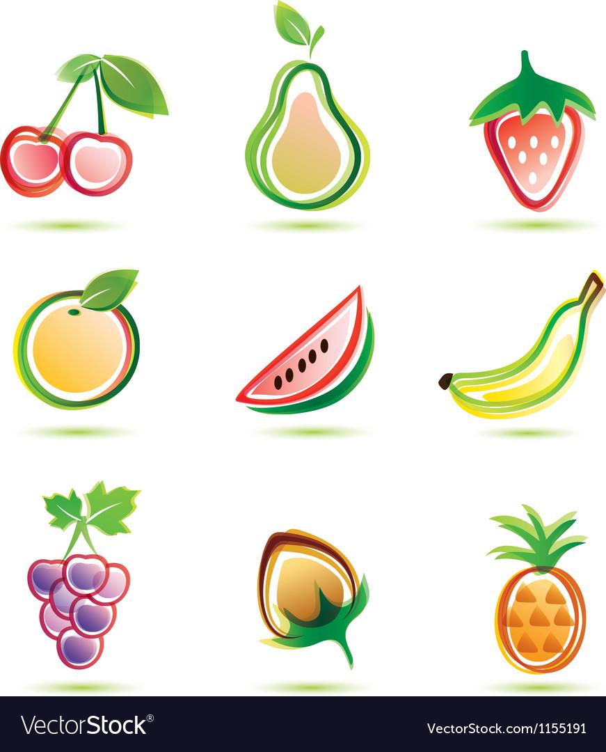 Organic fruits icons set organic food concept vector