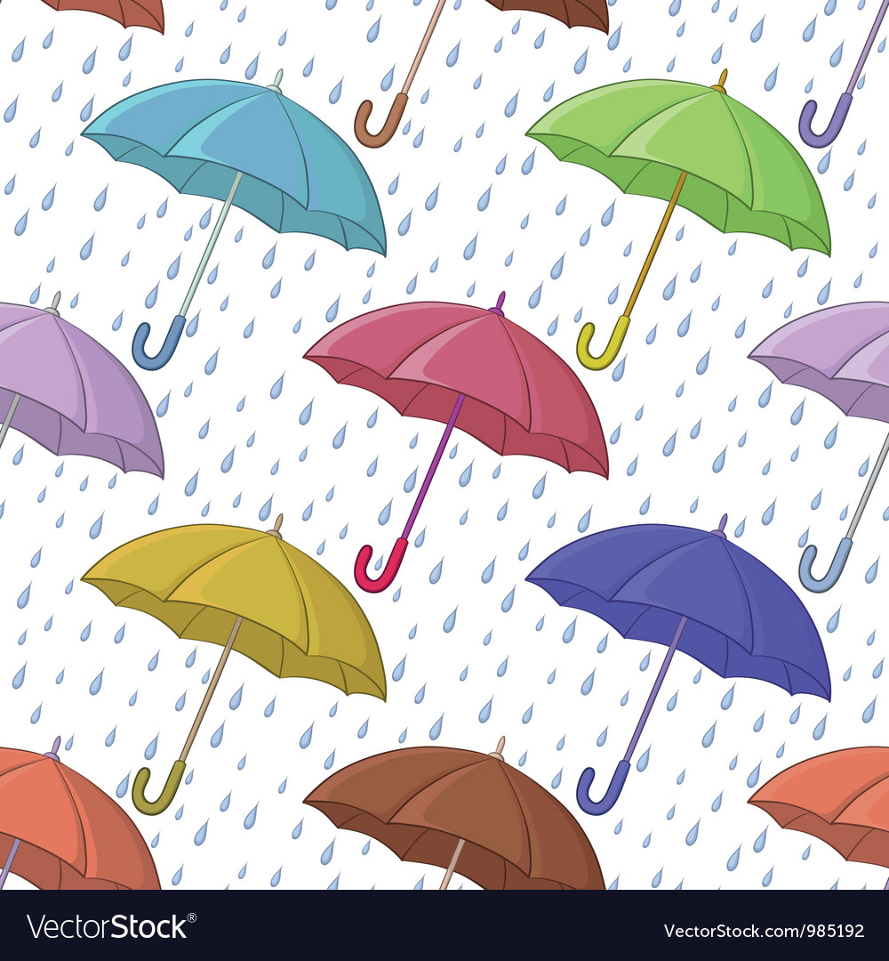 Umbrella and rain seamless background vector