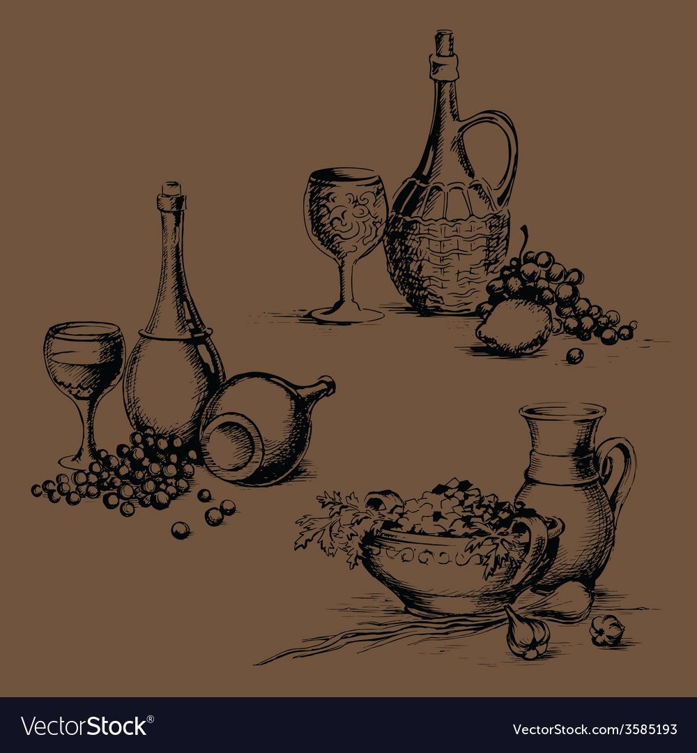 Freehand drawing of food for menu vector
