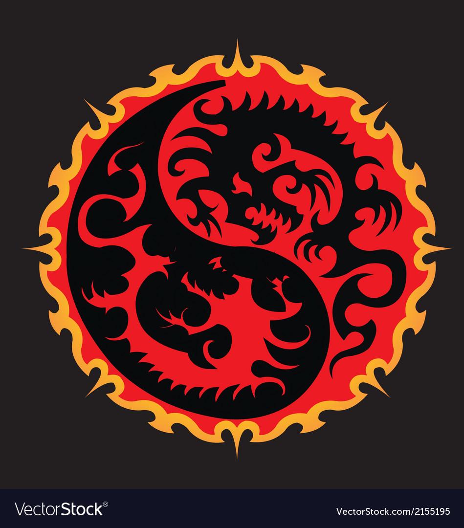 Fire dragon battle in sun yin yang symbol vector