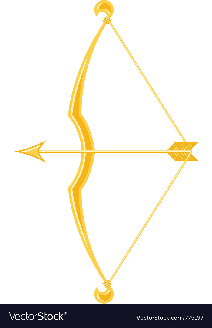 Gold bow and arrow vector