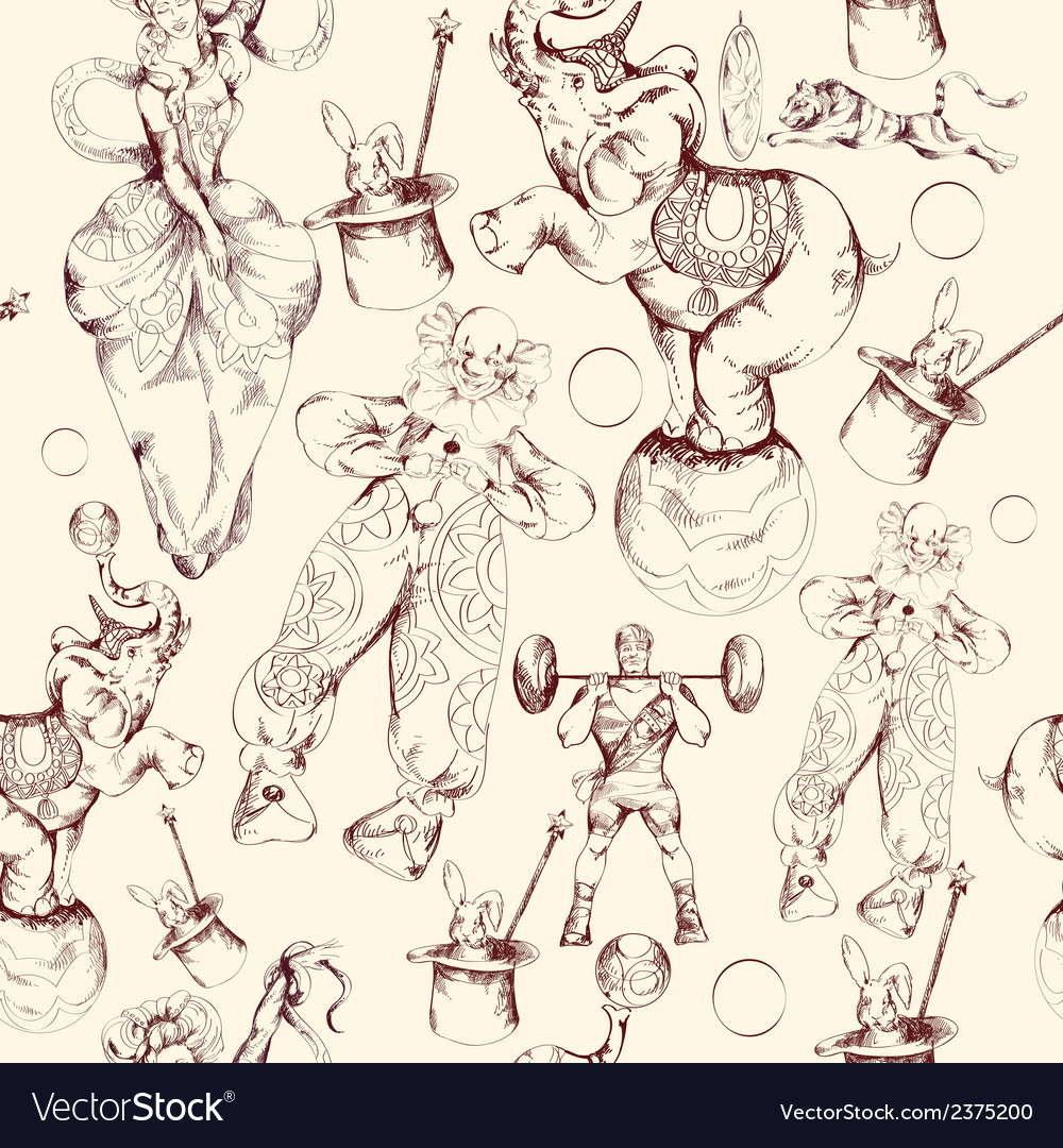 Circus doodle sketch seamless pattern vector
